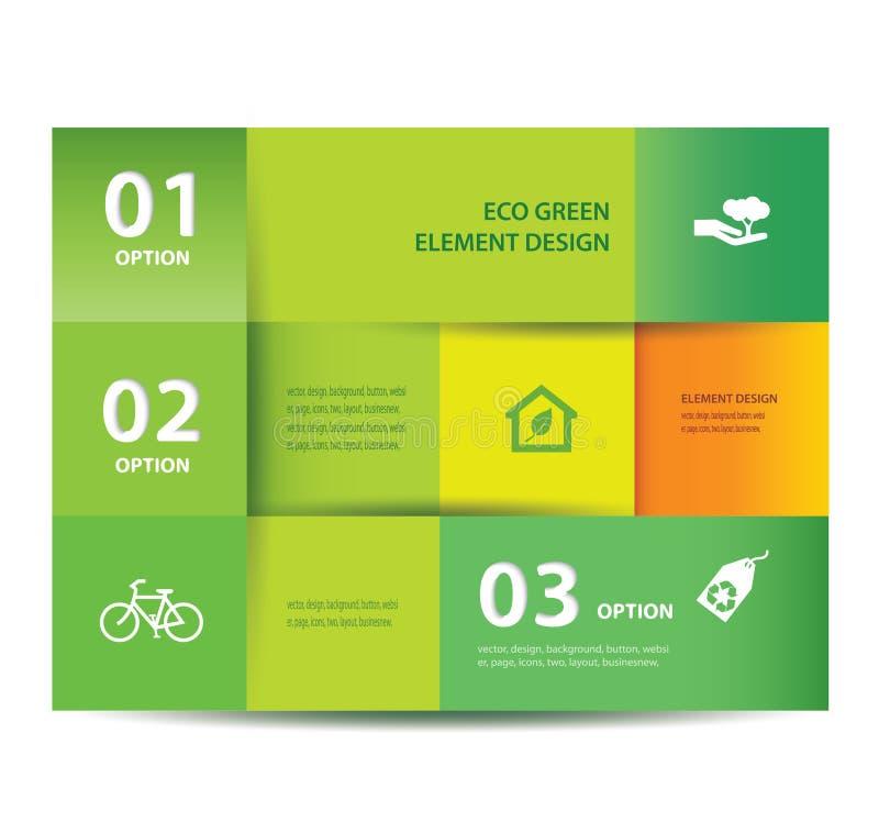 Pappers- ecobeståndsdel- och nummerdesignmall. Vektorillustration. Infographics alternativ. stock illustrationer