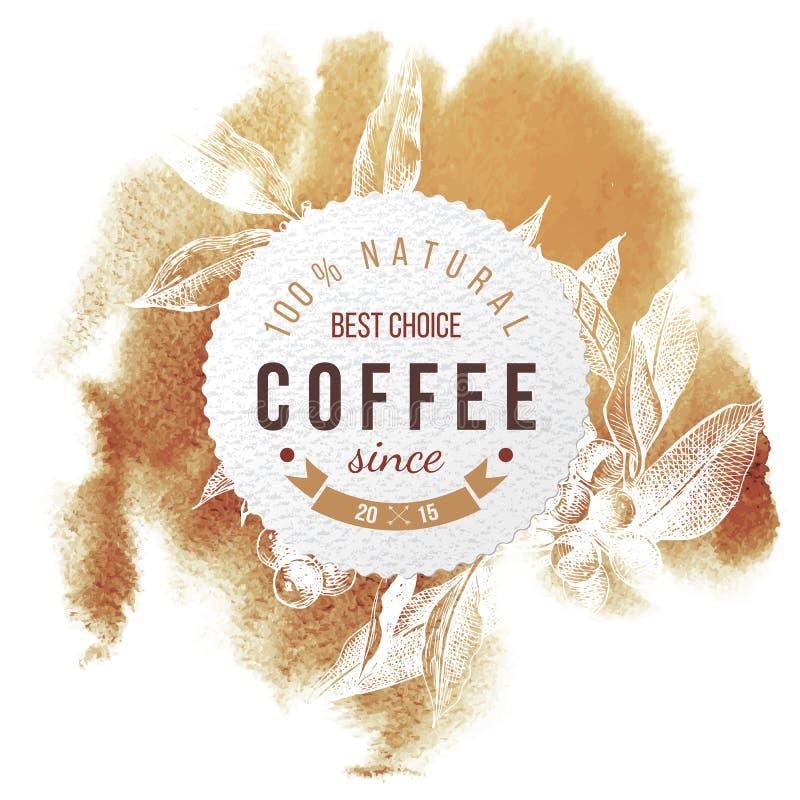 Pappers- emblem för kaffe royaltyfri illustrationer
