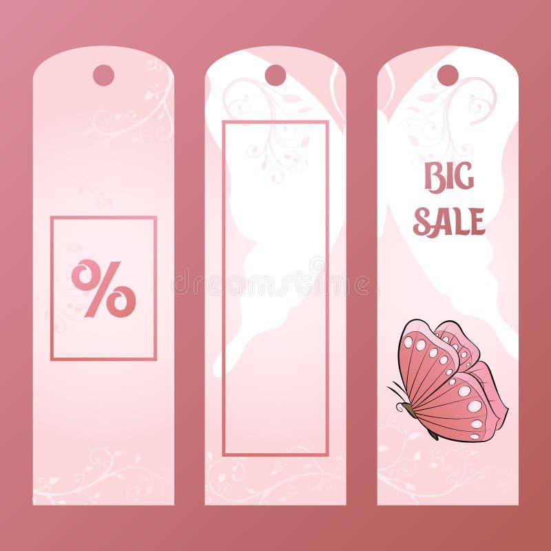 Pappers- etikett för en stor försäljning med den rosa fjärilen Köp och sälj vektorillustrationen vektor illustrationer