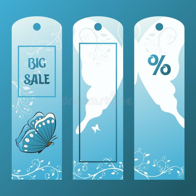 Pappers- etikett som är till salu med den blåa fjärilen Etikett för försäljningar stock illustrationer