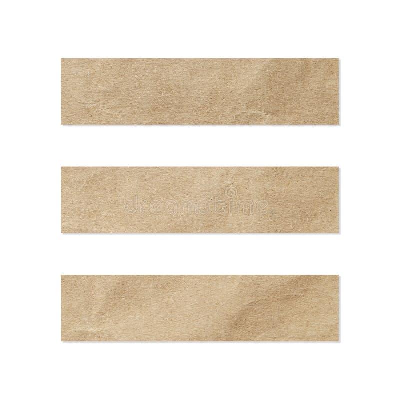 Pappers- etikettsuppsättning Stäng sig upp av ett stycke av anmärkningspapper på vit bakgrund Stycke av tidningen på vit arkivfoto
