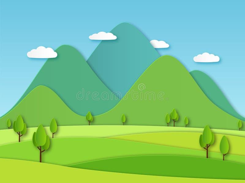 Pappers- fältlandskap Sommarlandskap med gröna kullar och blå himmel, vita moln Idérik vektor 3d för i lager papercut royaltyfri illustrationer