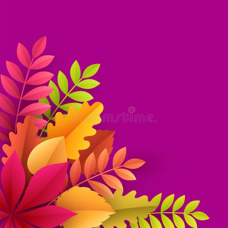 Pappers- färgrik bakgrund för höstsidor Moderiktig illustration för vektor för stil för origamipapperssnitt vektor illustrationer
