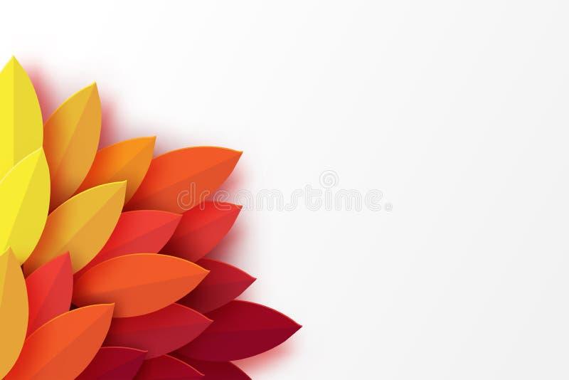 Pappers- färgrik bakgrund för höstsidor Moderiktigt origamipapperssnitt stock illustrationer