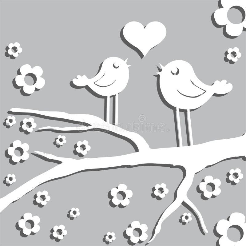 Pappers- fåglar med en hjärta stock illustrationer