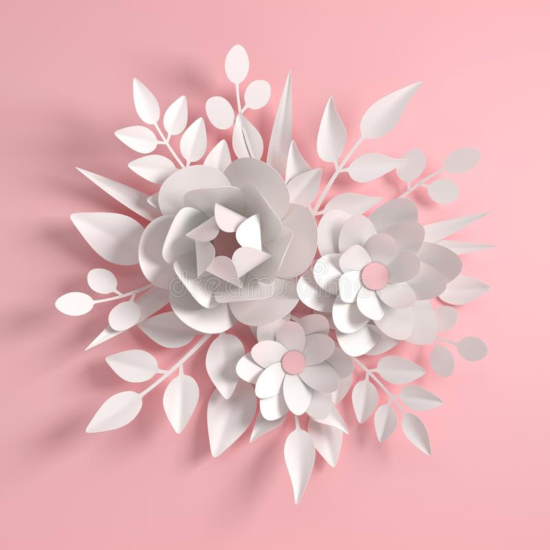 Pappers- f?rgrik blommabakgrund Valentin dag, p?sk, moders dag, br?lloph?lsningkort 3d framf?r den digitala v?ren eller vektor illustrationer