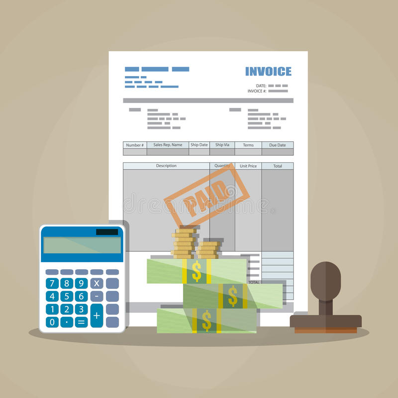 Pappers- faktura, betald stämpel, räknemaskin, kontanta pengar vektor illustrationer