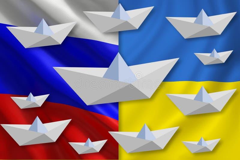 Pappers- fartyg över flaggan av uUkrainen vektor illustrationer
