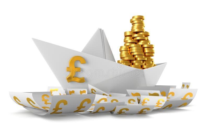 Pappers- fartyg GBP stock illustrationer