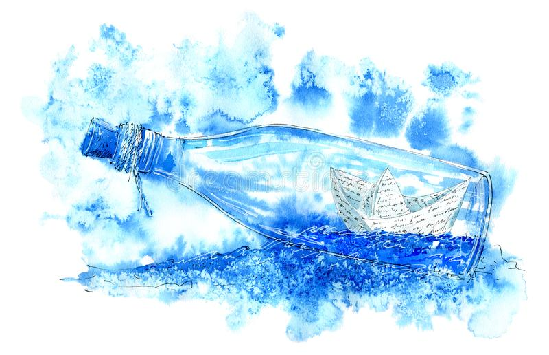Pappers- fartyg i en flaska Havsbild vektor illustrationer