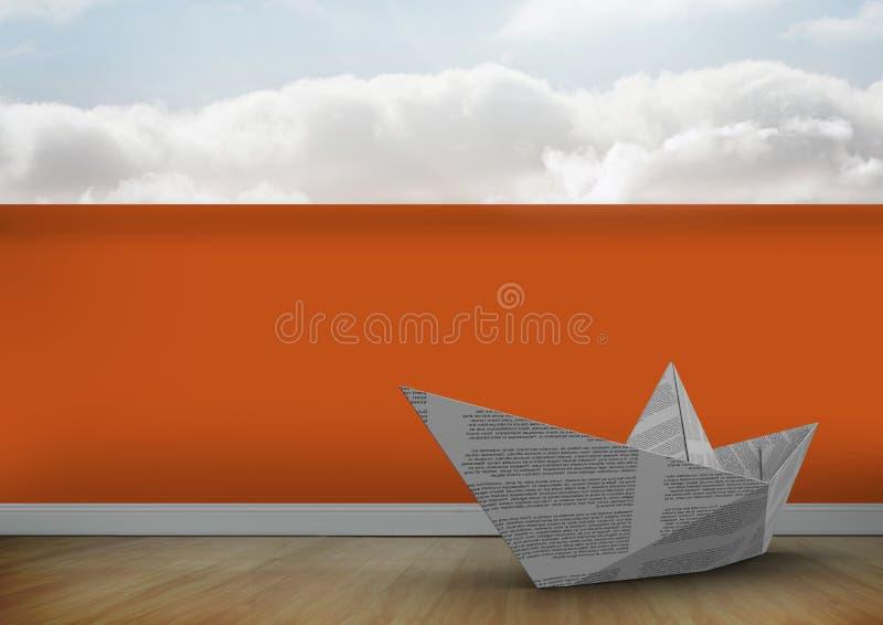 Pappers- fartyg på golv royaltyfria bilder