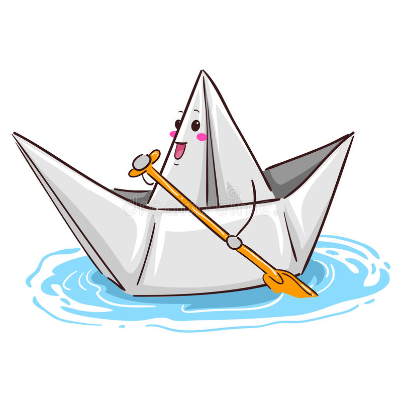 Pappers- fartygmaskot som paddlar på vatten royaltyfri illustrationer