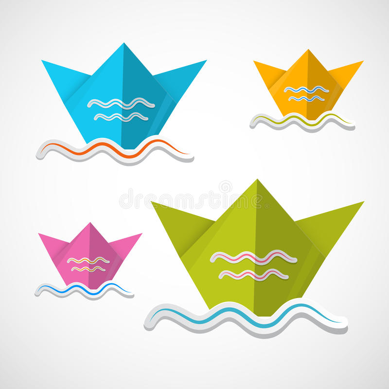 Pappers- fartygorigamiuppsättning royaltyfri illustrationer