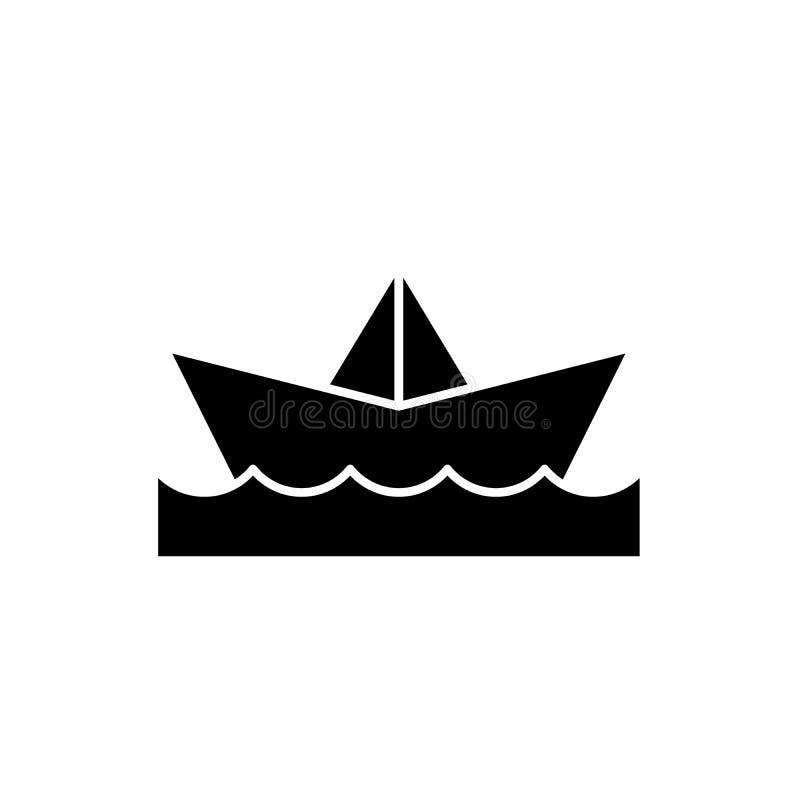Pappers- fartygsvartsymbol, vektortecken på isolerad bakgrund Pappers- fartygbegreppssymbol, illustration stock illustrationer