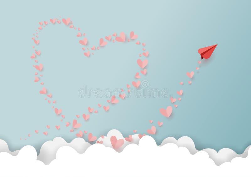 Pappers- flygplan och sväva pappers- hjärtor royaltyfri illustrationer