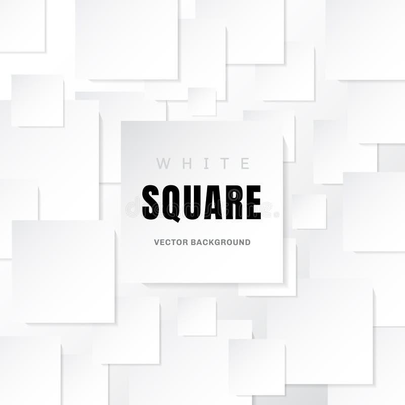 Pappers- fyrkantbaner för vit mall med skugga på vit bakgrund med kopieringsutrymme royaltyfri illustrationer