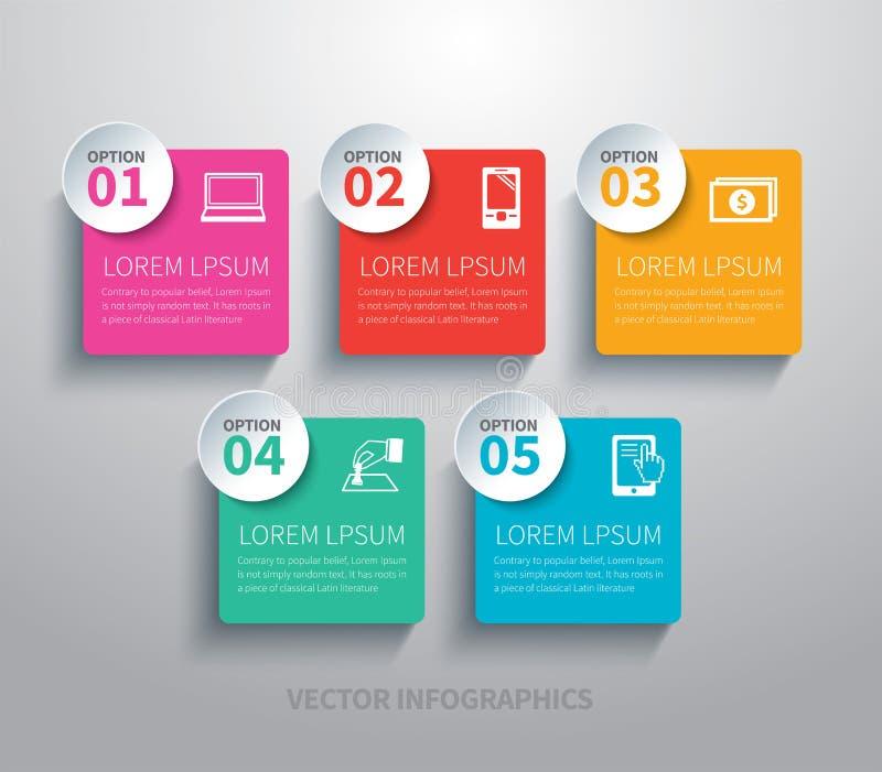 Pappers- fyrkantigt infographic royaltyfri illustrationer
