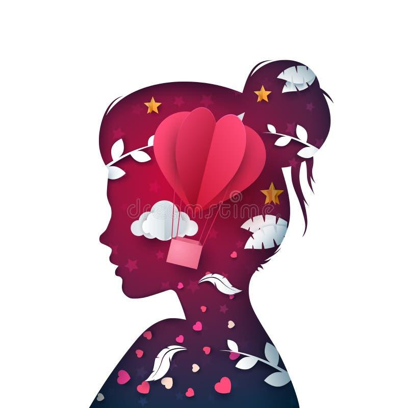 Pappers- härlig flicka för tecknad film Duva moln, airballoon, fjäder vektor illustrationer