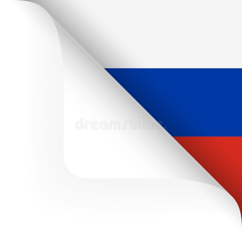 pappers- hörn som vänds med ryssflaggan royaltyfri illustrationer