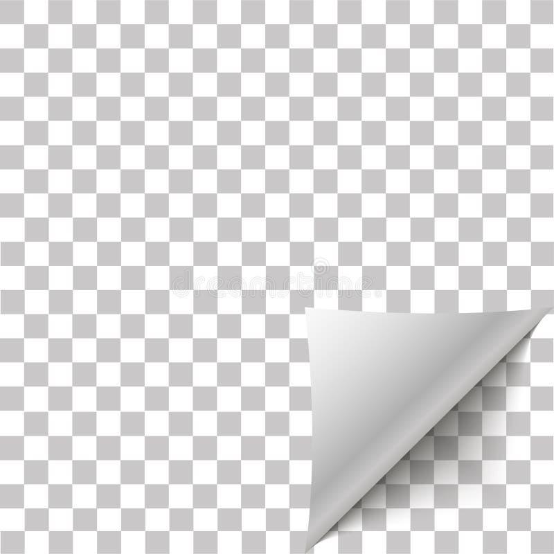 Pappers- hörnpeel Sida krullat veck med skugga Tomt ark av den vikta klibbiga pappers- anmärkningen royaltyfri illustrationer