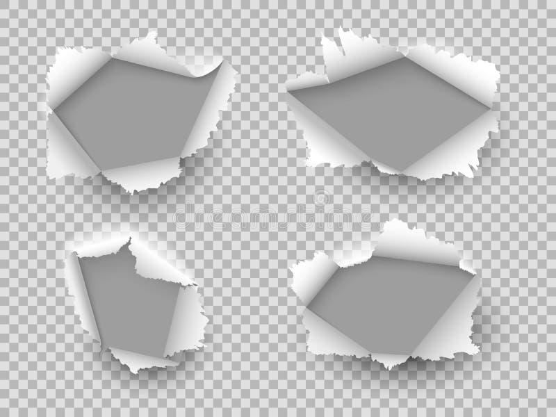 Pappers- h?l Rev sönder sönderrivna hål för kanten, papprevabristning skadade arket med krullade stycken, öppet pappers- mellanru vektor illustrationer