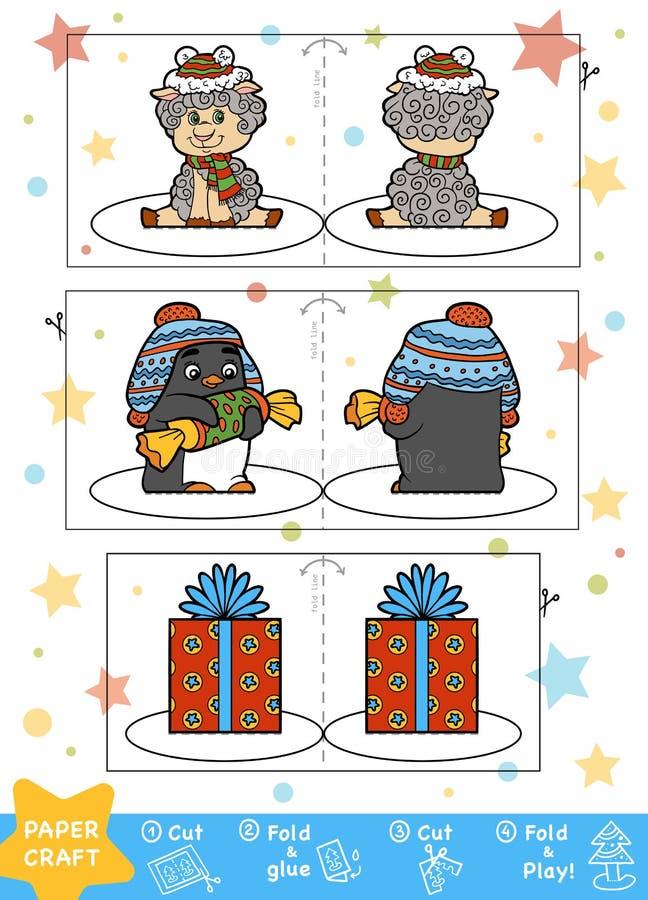 Pappers- hantverk för jul för barn Får, pingvin och gåva royaltyfri illustrationer