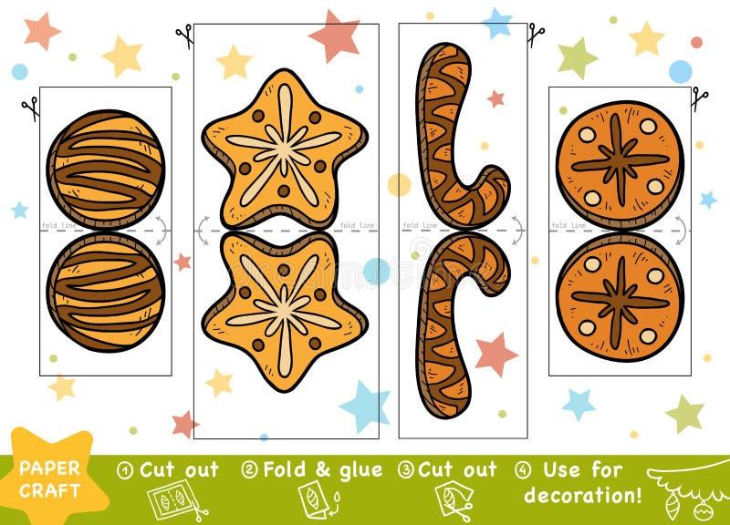 Pappers- hantverk för utbildningsjul för barn, julkakor royaltyfri illustrationer