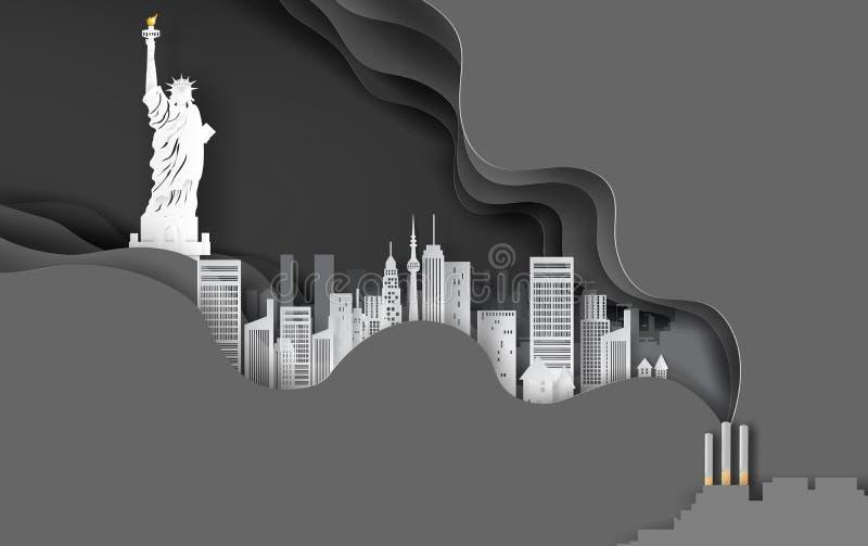 Pappers- hantverk och konst av cigaretten med cityscapebegrepp Abstrakt bakgrund för svart för kurvvåglager, arkitektur i New Yor vektor illustrationer