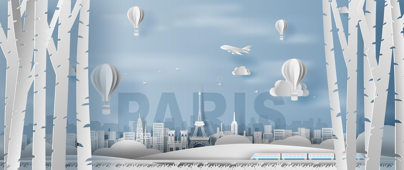 Pappers- hantverk och snitt av panoramaskogsikten för att resa den Paris för Eiffeltorn för feriesemestergränsmärken staden Frank vektor illustrationer