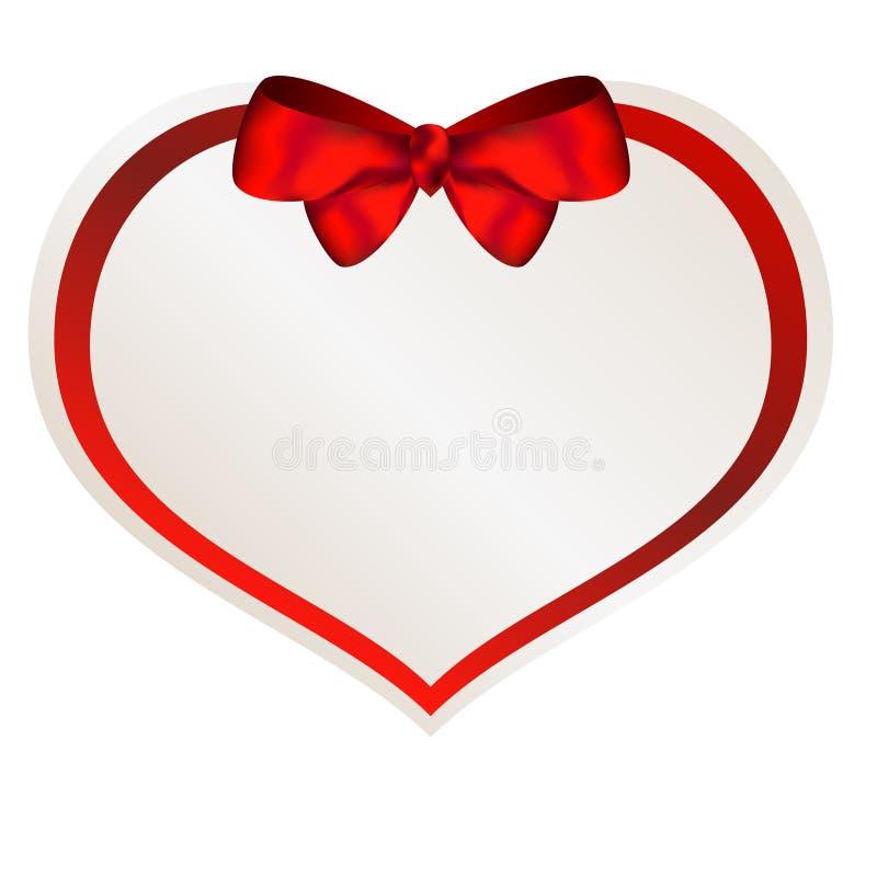 Pappers- hjärta för valentin med den röda pilbågen royaltyfri illustrationer