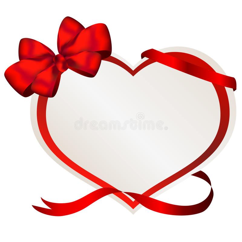 Pappers- hjärta för valentin med den röda pilbågen fotografering för bildbyråer