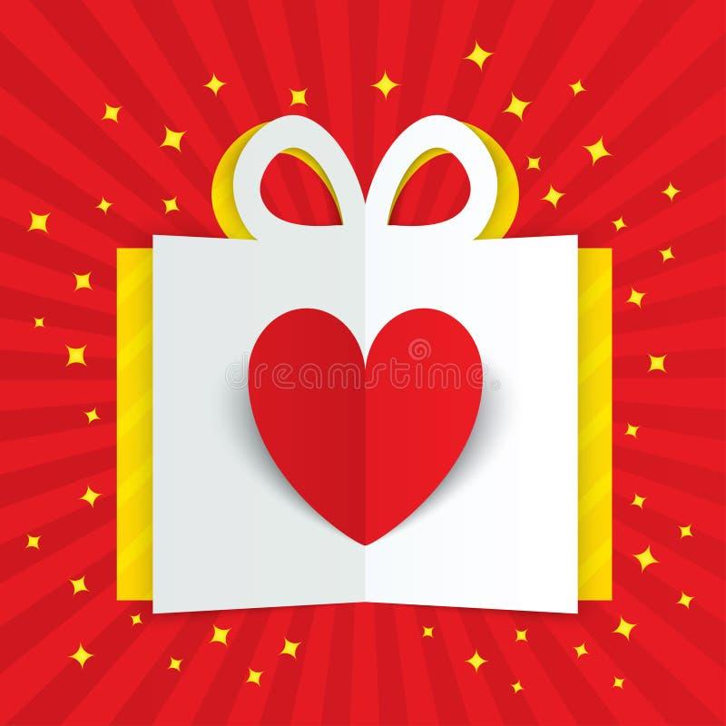 Pappers- hjärta i gåvaask med den gula signalljuset, stjärnor vektor illustrationer