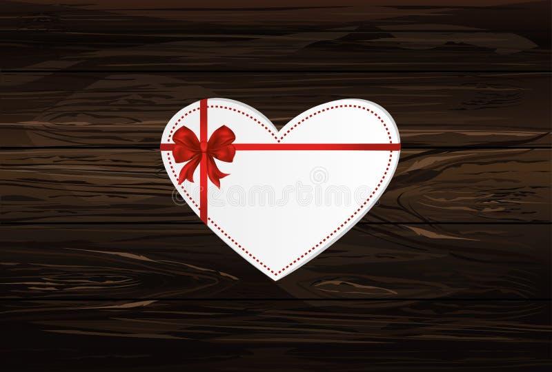 Pappers- hjärta med en rött pilbåge och band valentin för dag s hälsning stock illustrationer