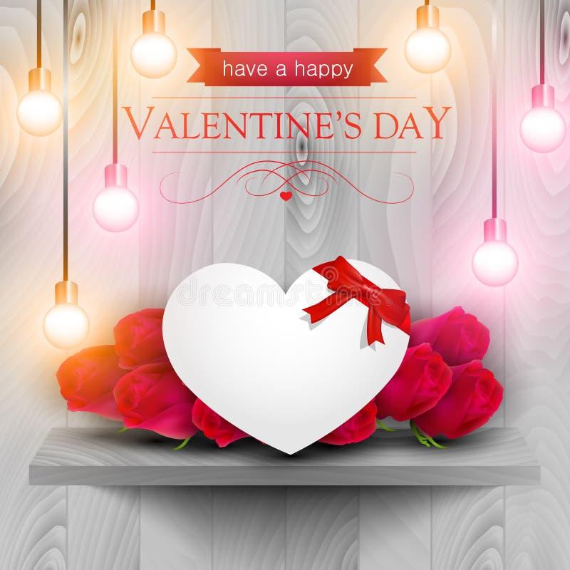 Pappers- hjärta och röda rosor på en trähylla stock illustrationer