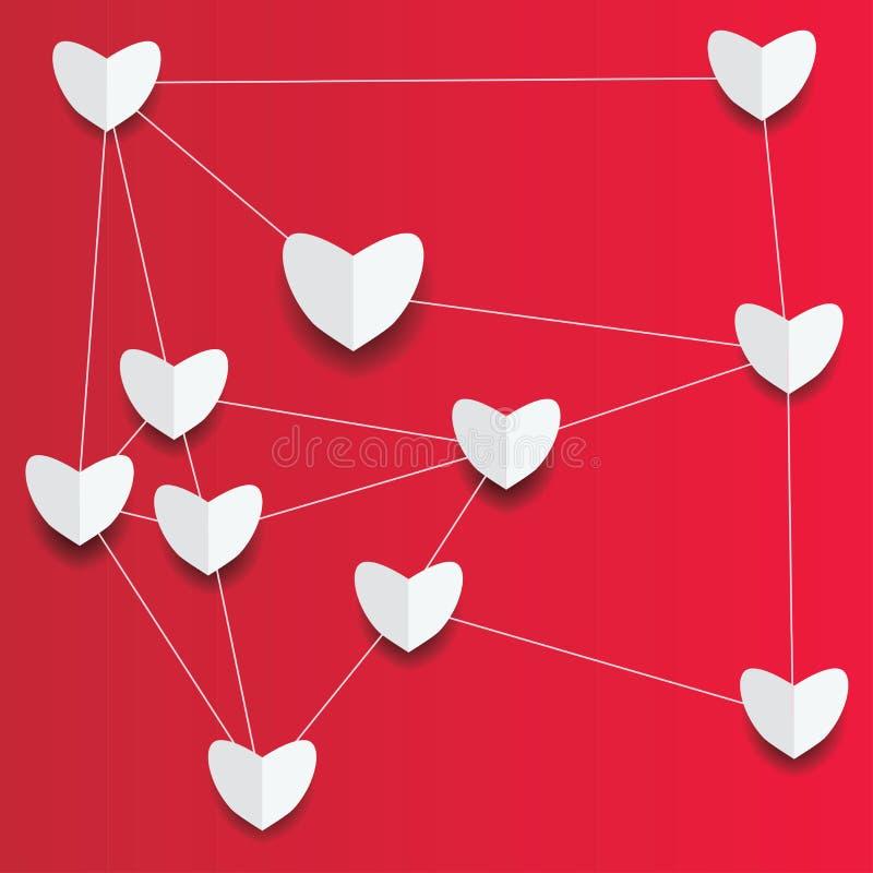 Pappers- hjärtor på röd bakgrund vektor illustrationer