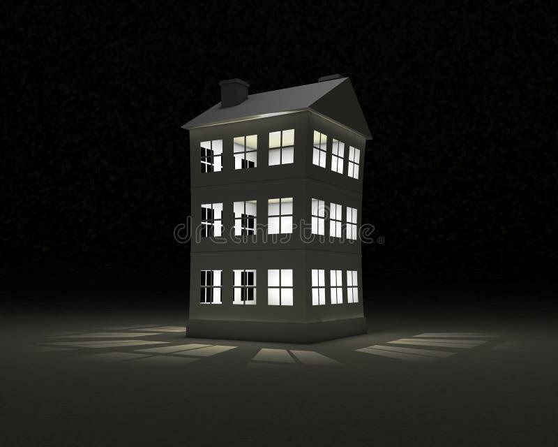 Pappers- hus i på nätterna vektor illustrationer