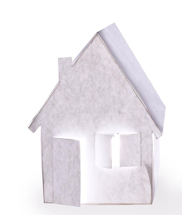 Pappers- hus. Isolerat royaltyfri illustrationer