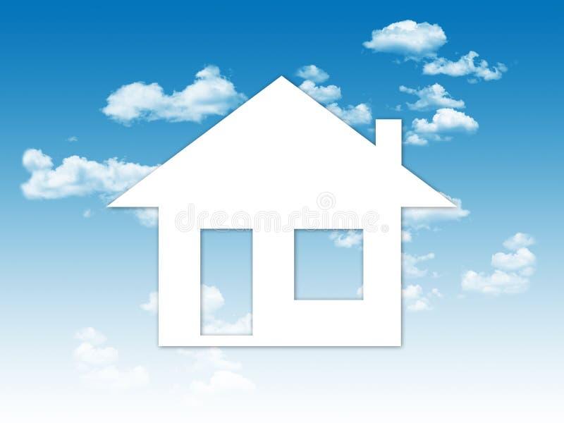 Pappers- hus på en backgroung för blå himmel royaltyfri illustrationer