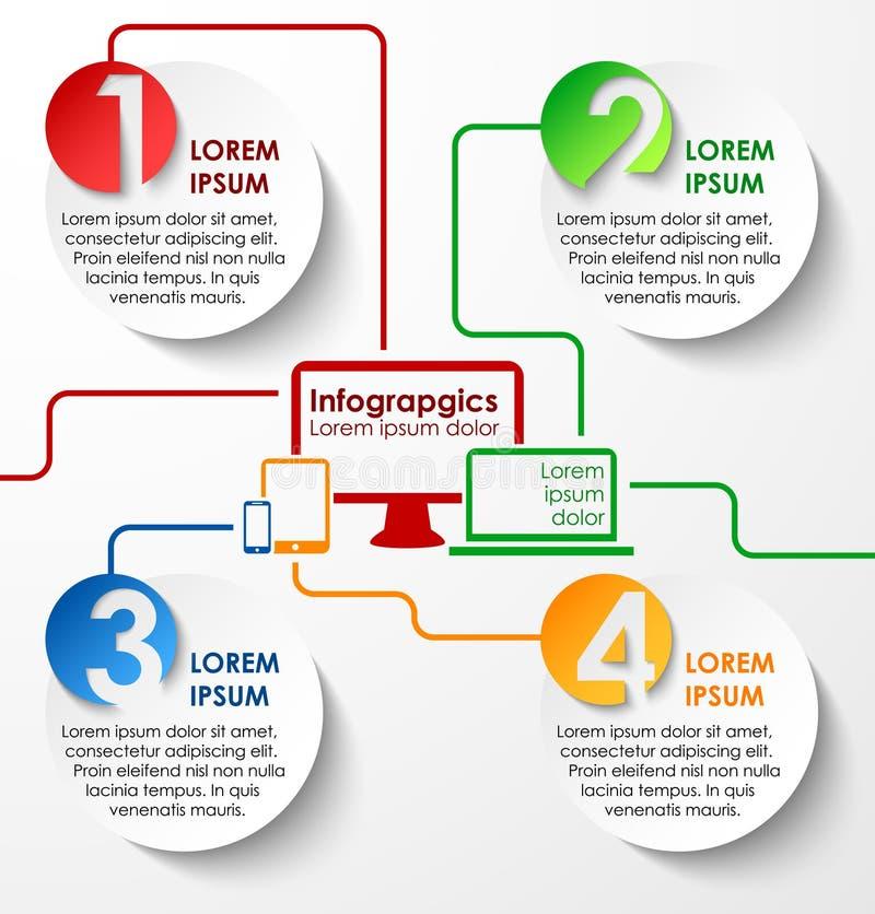 Pappers- infographics för abstrakt begreppcirklar stock illustrationer