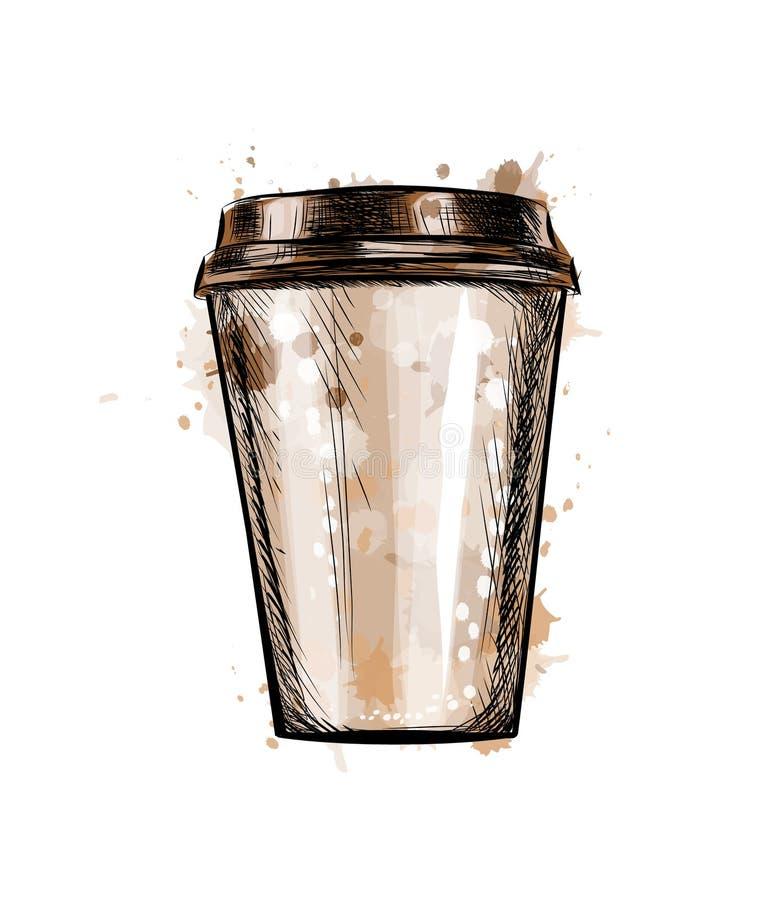 Pappers- kaffekopp från en färgstänk av vattenfärgen vektor illustrationer