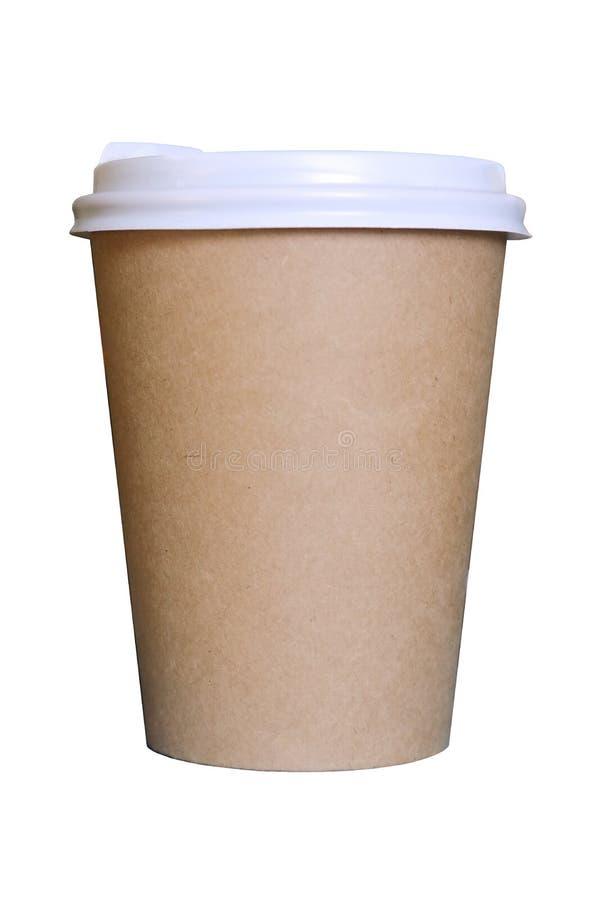 Pappers- kaffekopp som isoleras på vit bakgrund royaltyfri fotografi