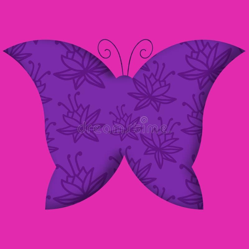 Pappers- klippt fjärilskontur med blom- bakgrund stock illustrationer