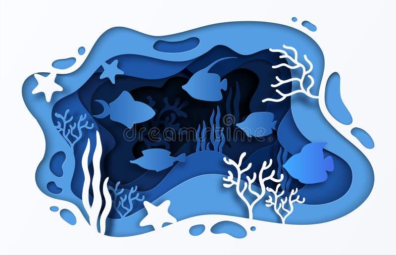 Pappers- klippt havsbakgrund Den undervattens- havkorallreven med vågor fiskar och havsväxter, sommaraffisch för tecknad film 3D  royaltyfri illustrationer