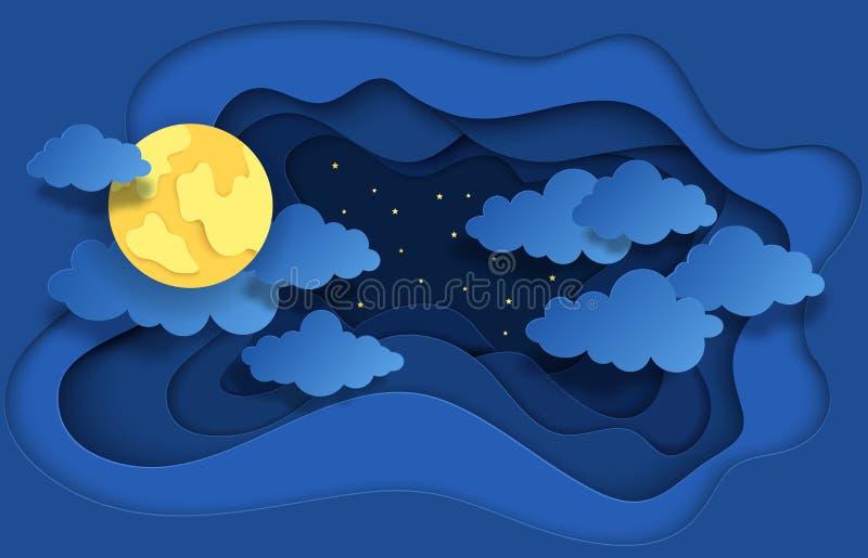 Pappers- klippt natthimmel Drömlik bakgrund med månestjärnor och moln, abstrakt fantasibakgrund Vektororigamibakgrund stock illustrationer