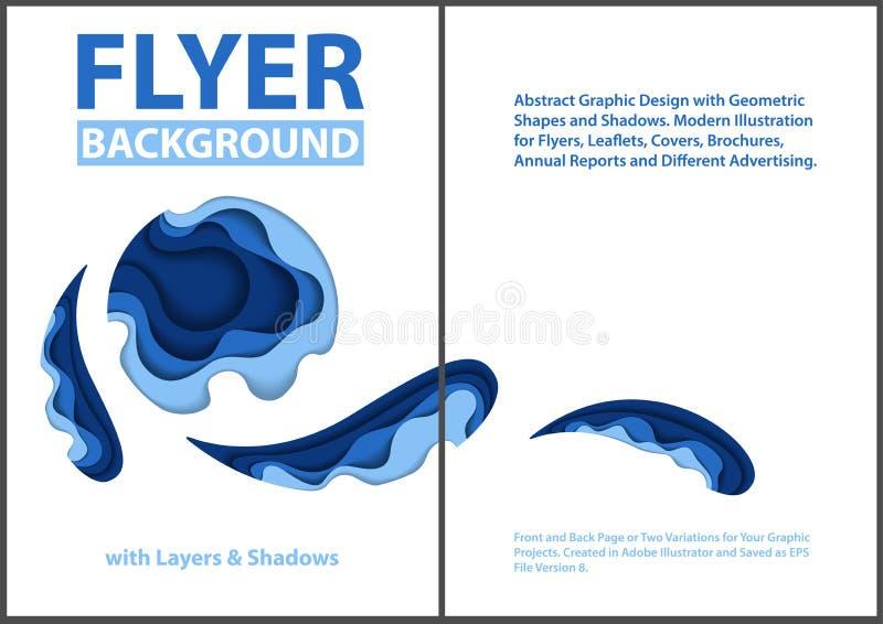 Pappers- klippt stildesign med blåa lager royaltyfri illustrationer