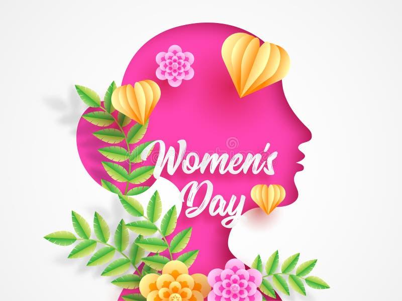 Pappers- klippt stilkvinnaframsida som dekoreras med blommor och hjärtaformer för kvinnors dag vektor illustrationer
