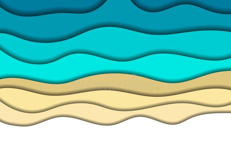 Pappers- klippta baner med abstrakt bakgrund för sand för kust för hav 3D med blåa vågor och skuggor Orientering för banret, affi stock illustrationer