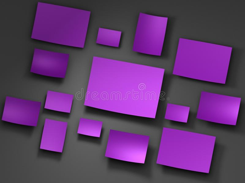 Pappers- klistermärkear för lilor 3d framför stock illustrationer