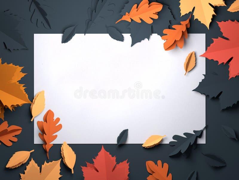 Pappers- konst - Autumn Fall Leaves Background vektor illustrationer