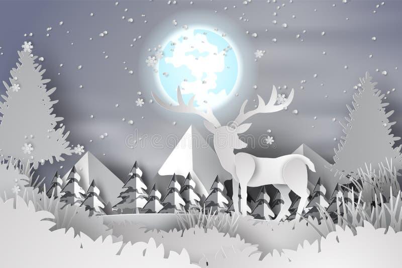 Pappers- konst av hjortar i skoglanscapen snöar med fullmånen, hil stock illustrationer